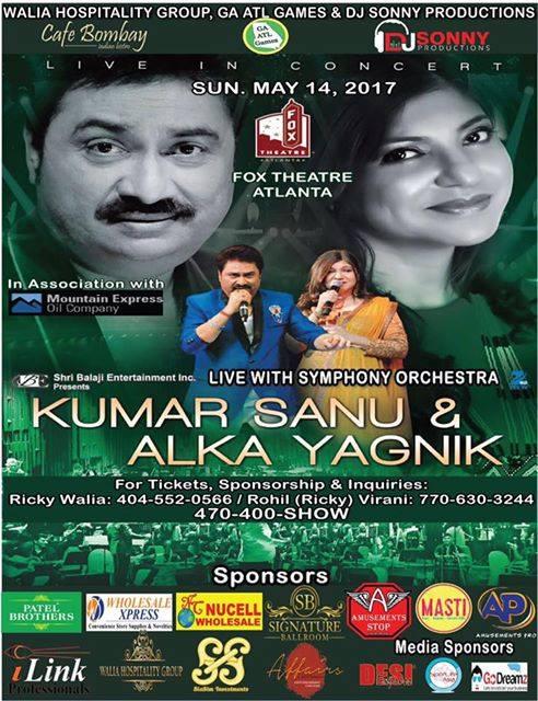 Kumar Sanu & Alka Yagnik live in Atlanta, MAY 14 2017